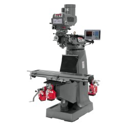 """JET 690015 JTM-4VS 9"""" X 49"""" VARIABLE SPEED VERTICAL MILLING MACHINE WITH ACU-RITE 203 2-AXIS DRO AND X & Z-AXIS POWER FEEDS"""