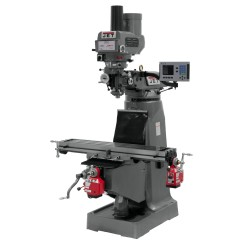 """JET 690422 JTM-4VS-1 9"""" X 49"""" VARIABLE SPEED VERTICAL MILLING MACHINE WITH ACU-RITE 203 2-AXIS DRO AND X & Y-AXIS POWER FEEDS & POWER DRAW BAR"""