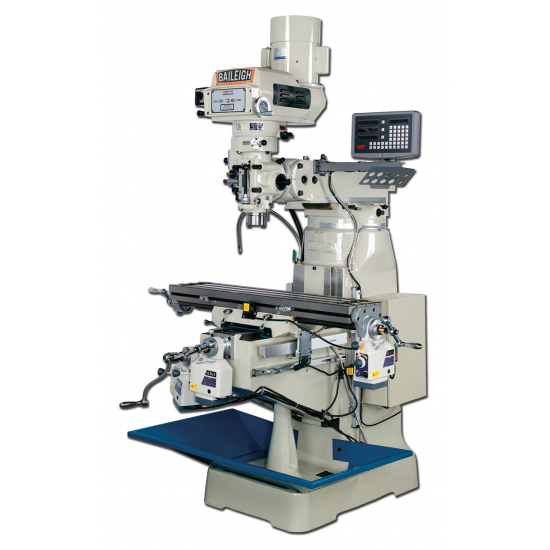 """BAILEIGH 1008192 VM-942-1 9"""" X 42"""" VARIABLE SPEED VERTICAL MILLING MACHINE WITH 3-AXIS (KNEE) DRO AND X, Y & Z-AXIS POWER FEEDS"""