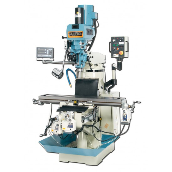 """BAILEIGH 1008236 VM-949-3 9"""" X 49"""" ELECTRONIC VARIABLE SPEED VERTICAL MILLING MACHINE WITH MITUTOYO 2-AXIS DRO AND X, Y & Z-AXIS POWER FEEDS & POWER DRAW BAR"""