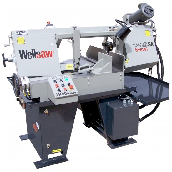 "WELLSAW 1316S-EXT-SA 13"" X 16"" SEMI-AUTOMATIC SWIVEL HEAD MITER HORIZONTAL BANDSAW WITH EXTENDED CAPACITY"