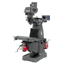 """JET 690098 JTM-4VS 9"""" X 49"""" VARIABLE SPEED VERTICAL MILLING MACHINE WITH ACU-RITE 203 2-AXIS DRO AND X & Y-AXIS POWER FEEDS"""