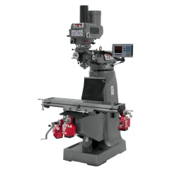 """JET 690430 JTM-4VS 9"""" X 49"""" VARIABLE SPEED VERTICAL MILLING MACHINE WITH ACU-RITE 203 3-AXIS (KNEE) DRO AND X, Y & Z-AXIS POWER FEEDS & POWER DRAW BAR"""