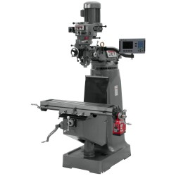 """JET 690095 JTM-2 9"""" X 42"""" STEP PULLEY VERTICAL MILLING MACHINE WITH ACU-RITE 203 3-AXIS (KNEE) DRO AND X-AXIS POWER FEED"""