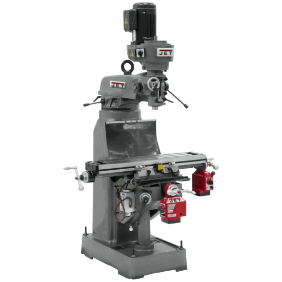 """JET 690211 JVM-836-1 7-7/8"""" x 35-3/4"""" STEP PULLEY VERTICAL MILLING MACHINE WITH X AND Y-AXIS POWER FEEDS"""