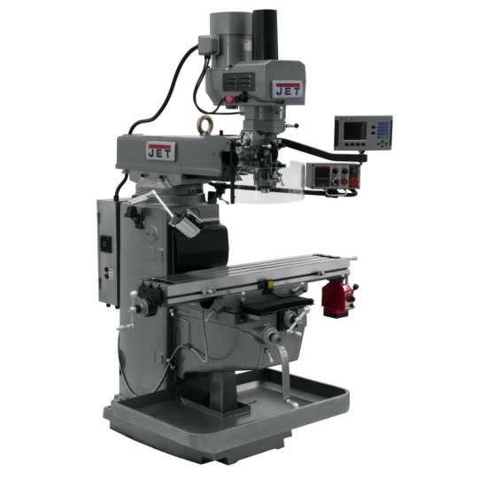 """JET 690625 JTM-1050EVS2/230 10"""" X 50"""" ELECTRONIC VARIABLE SPEED VERTICAL MILLING MACHINE WITH ACU-RITE 203 3-AXIS (KNEE) DRO AND X-AXIS POWER FEED & POWER DRAW BAR"""