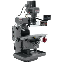 "JET 690635 JTM-1050EVS2/230 10"" X 50"" ELECTRONIC VARIABLE SPEED VERTICAL MILLING MACHINE WITH NEWALL DP700 2-AXIS DRO AND X-AXIS POWER FEED & POWER DRAW BAR"