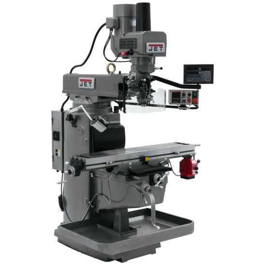 "JET 690645 JTM-1050EVS2/230 10"" X 50"" ELECTRONIC VARIABLE SPEED VERTICAL MILLING MACHINE WITH NEWALL DP700 3-AXIS (QUILL) DRO AND X-AXIS POWER FEED & POWER DRAW BAR"