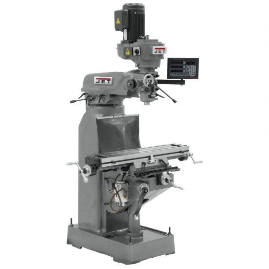 """JET 691228 JVM-836-1 7-7/8"""" x 35-3/4"""" STEP PULLEY VERTICAL MILLING MACHINE WITH NEWALL DP700 3-AXIS (KNEE) DRO"""
