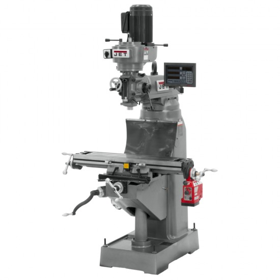 """JET 691174 JVM-836-1 7-7/8"""" x 35-3/4"""" STEP PULLEY VERTICAL MILLING MACHINE WITH NEWALL DP700 2-AXIS DRO AND X-AXIS POWER FEED"""