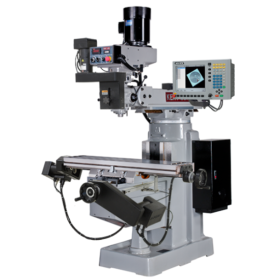 """KENT USA KTM-3VKF-MILLPWRG2-3 10"""" X 50"""" ELECTRONIC VARIABLE SPEED VERTICAL MILLING MACHINE WITH ACU-RITE MILLPWR G2 3-AXIS CNC CONTROL"""