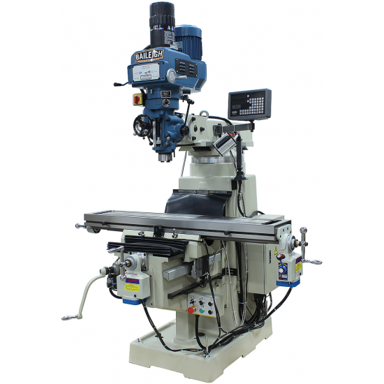 """BAILEIGH 1020696 VM-1054E-VS 10"""" X 54"""" VARIABLE SPEED VERTICAL MILLING MACHINE WITH 2-AXIS DRO AND X & Y-AXIS POWER FEEDS & POWER DRAW BAR"""